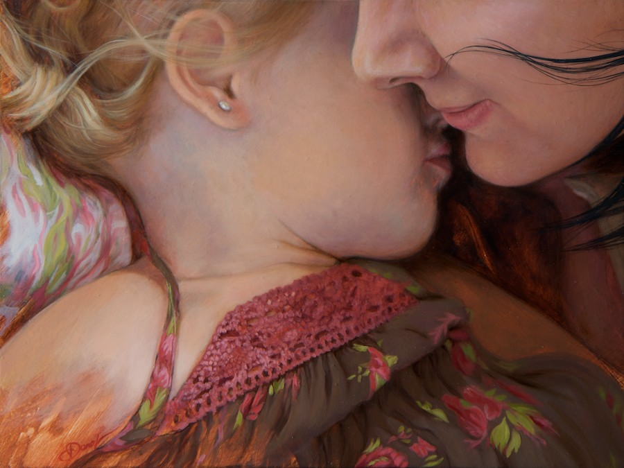 Jordana with mother | 20x16 | oil on board SOLD