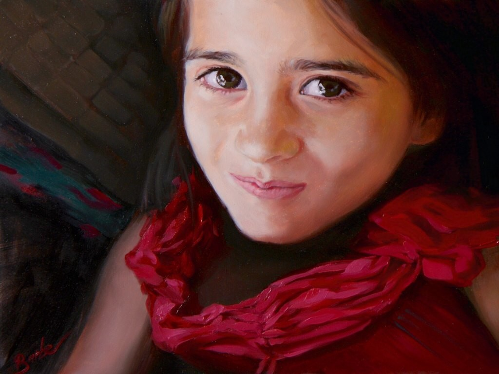 girl in red | oil on panel | 9x13