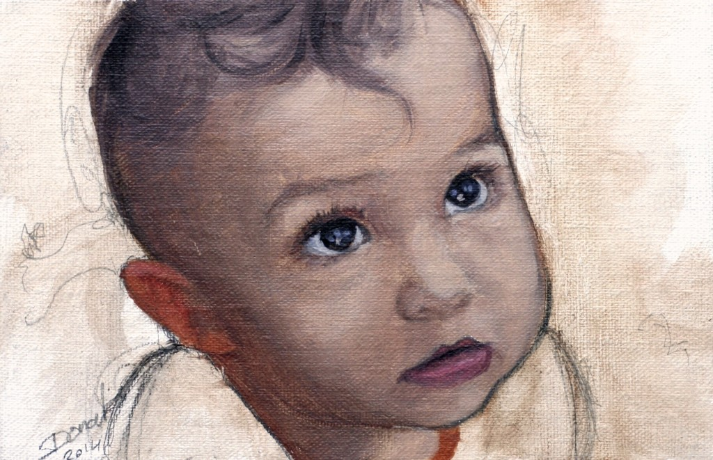 Little brother | oil sketch on linen | 4x6